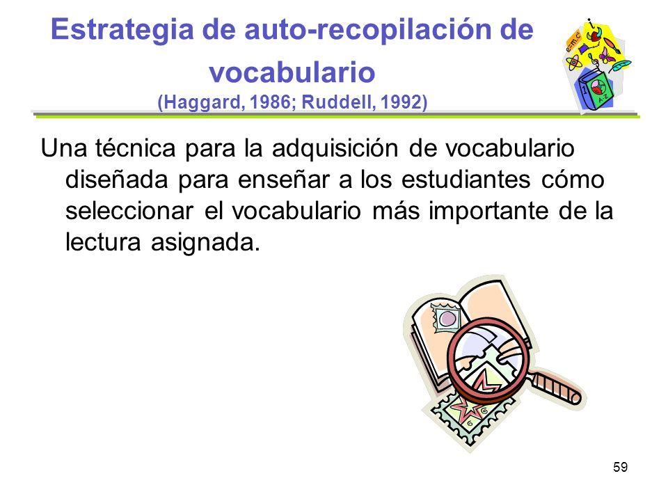 59 Estrategia de auto-recopilación de vocabulario (Haggard, 1986; Ruddell, 1992) Una técnica para la adquisición de vocabulario diseñada para enseñar
