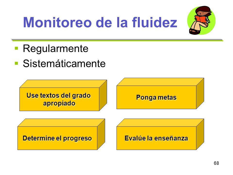 68 Monitoreo de la fluidez Regularmente Sistemáticamente Use textos del grado apropiado Determine el progreso Ponga metas Evalúe la enseñanza