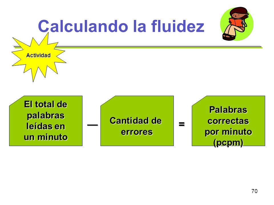 70 Calculando la fluidez El total de palabras leídas en un minuto Cantidad de erroresPalabrascorrectas por minuto (pcpm) = Actividad