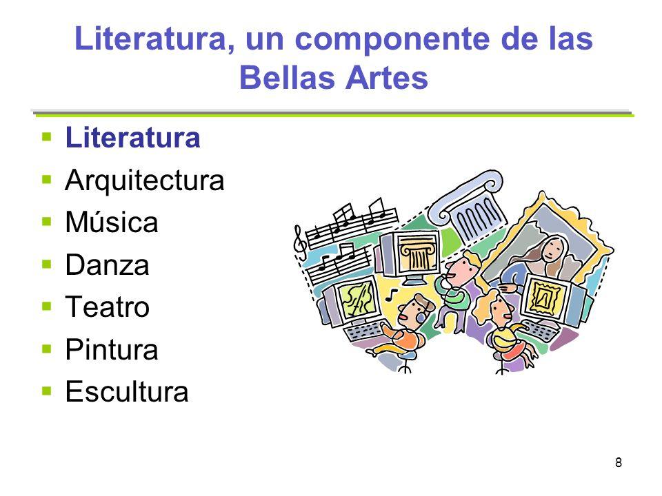 8 Literatura, un componente de las Bellas Artes Literatura Arquitectura Música Danza Teatro Pintura Escultura