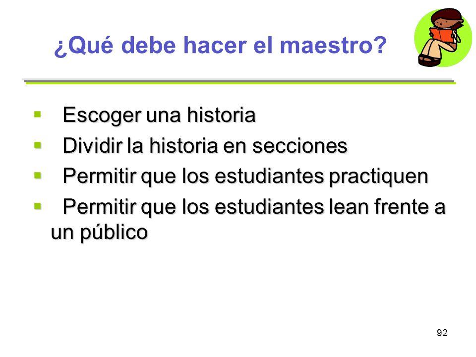 92 ¿Qué debe hacer el maestro? Escoger una historia Dividir la historia en secciones Dividir la historia en secciones Permitir que los estudiantes pra