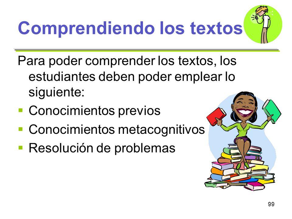 99 Comprendiendo los textos Para poder comprender los textos, los estudiantes deben poder emplear lo siguiente: Conocimientos previos Conocimientos me
