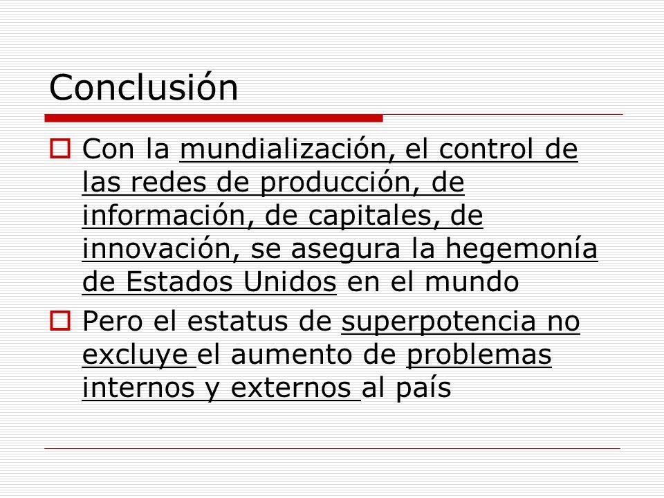 Conclusión Con la mundialización, el control de las redes de producción, de información, de capitales, de innovación, se asegura la hegemonía de Estad