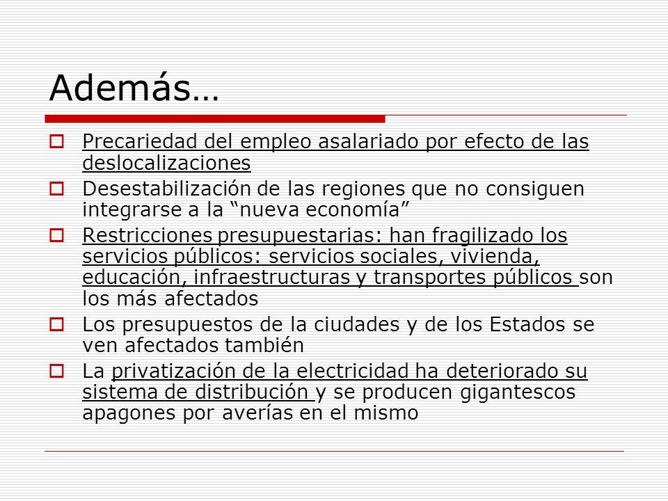 Además… Precariedad del empleo asalariado por efecto de las deslocalizaciones Desestabilización de las regiones que no consiguen integrarse a la nueva