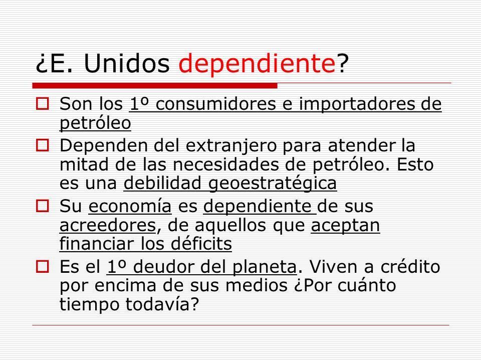 ¿E. Unidos dependiente? Son los 1º consumidores e importadores de petróleo Dependen del extranjero para atender la mitad de las necesidades de petróle