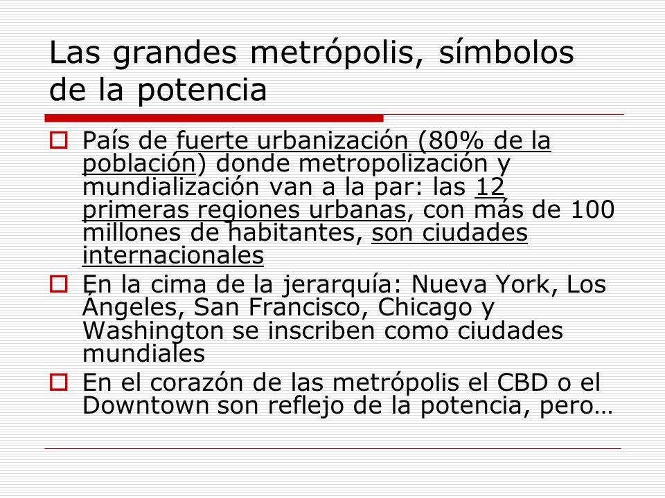Las grandes metrópolis, símbolos de la potencia País de fuerte urbanización (80% de la población) donde metropolización y mundialización van a la par: