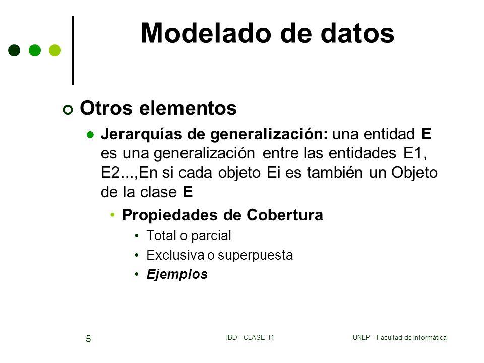 UNLP - Facultad de InformáticaIBD - CLASE 11 5 Modelado de datos Otros elementos Jerarquías de generalización: una entidad E es una generalización ent