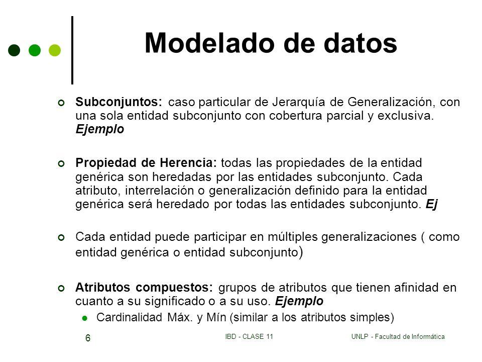 UNLP - Facultad de InformáticaIBD - CLASE 11 6 Modelado de datos Subconjuntos: caso particular de Jerarquía de Generalización, con una sola entidad su