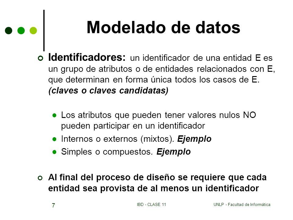 UNLP - Facultad de InformáticaIBD - CLASE 11 7 Modelado de datos Identificadores: un identificador de una entidad E es un grupo de atributos o de enti