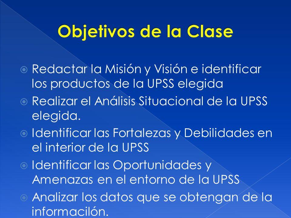 Redactar la Misión y Visión e identificar los productos de la UPSS elegida Realizar el Análisis Situacional de la UPSS elegida. Identificar las Fortal