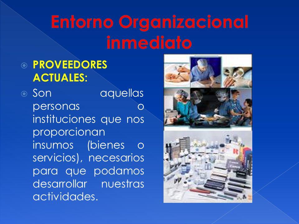 PROVEEDORES ACTUALES: Son aquellas personas o instituciones que nos proporcionan insumos (bienes o servicios), necesarios para que podamos desarrollar