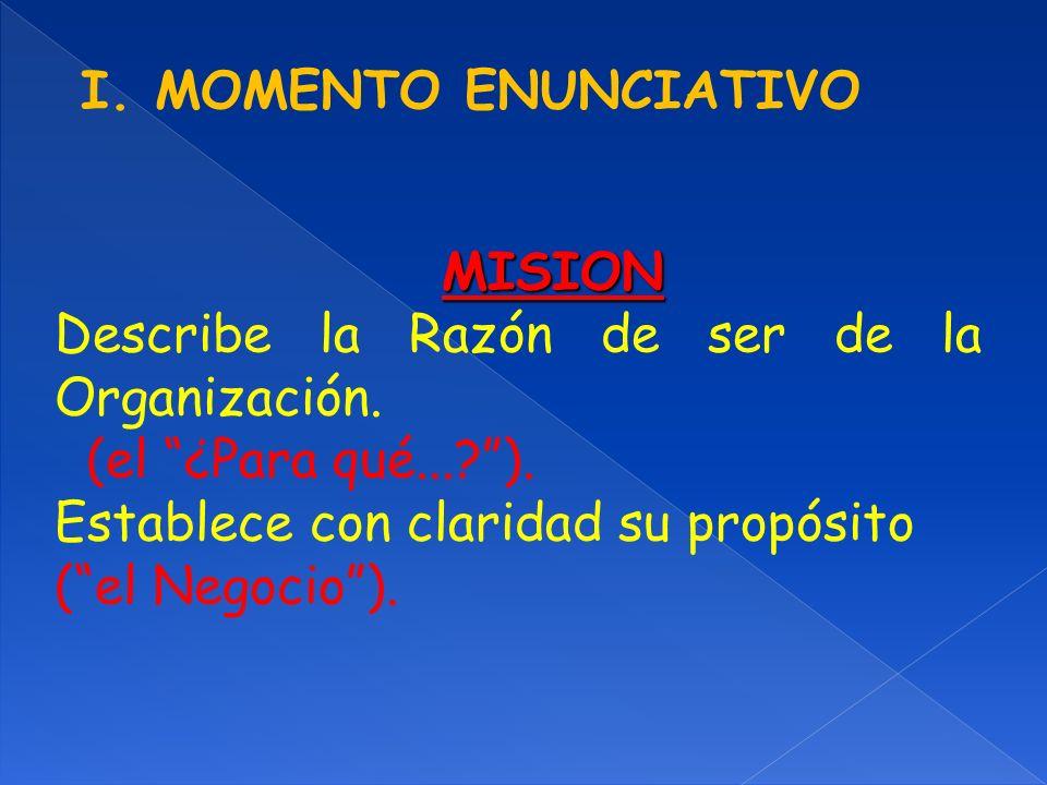 I. MOMENTO ENUNCIATIVO MISION Describe la Razón de ser de la Organización. (el ¿Para qué...?). Establece con claridad su propósito (el Negocio).