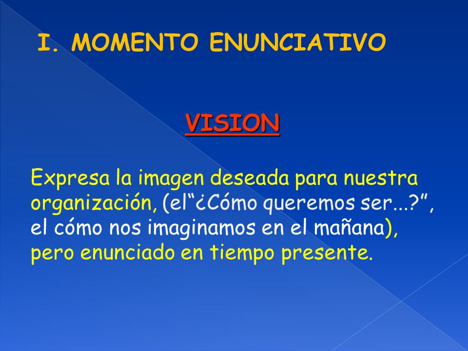 I. MOMENTO ENUNCIATIVO VISION Expresa la imagen deseada para nuestra organización, (el¿Cómo queremos ser...?, el cómo nos imaginamos en el mañana), pe