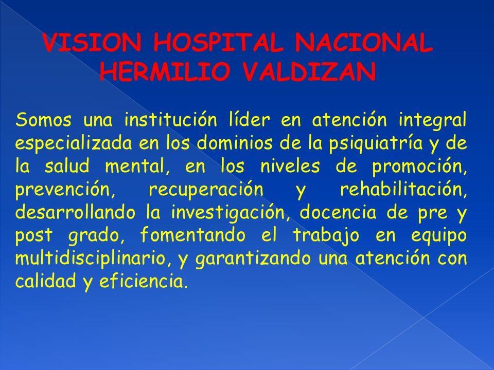 VISION HOSPITAL NACIONAL HERMILIO VALDIZAN Somos una institución líder en atención integral especializada en los dominios de la psiquiatría y de la sa