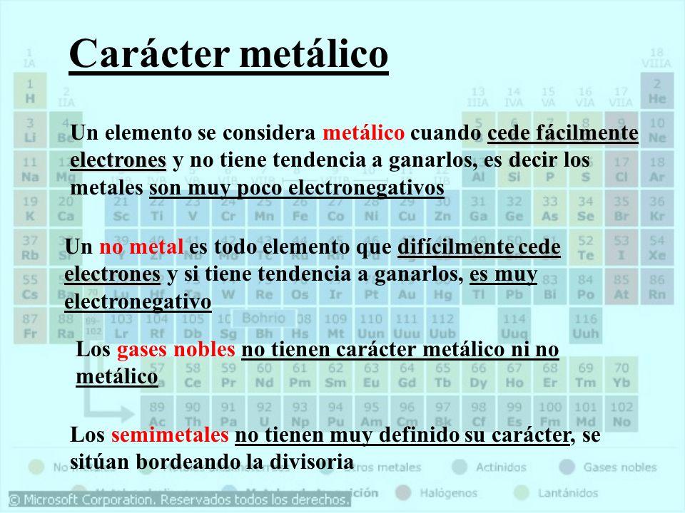Carácter metálico cede fácilmente electrones Un elemento se considera metálico cuando cede fácilmente electrones y no tiene tendencia a ganarlos, es d