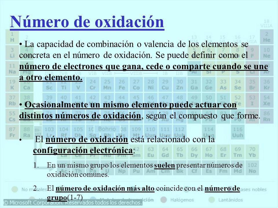 Número de oxidación La capacidad de combinación o valencia de los elementos se concreta en el número de oxidación. Se puede definir como el número de