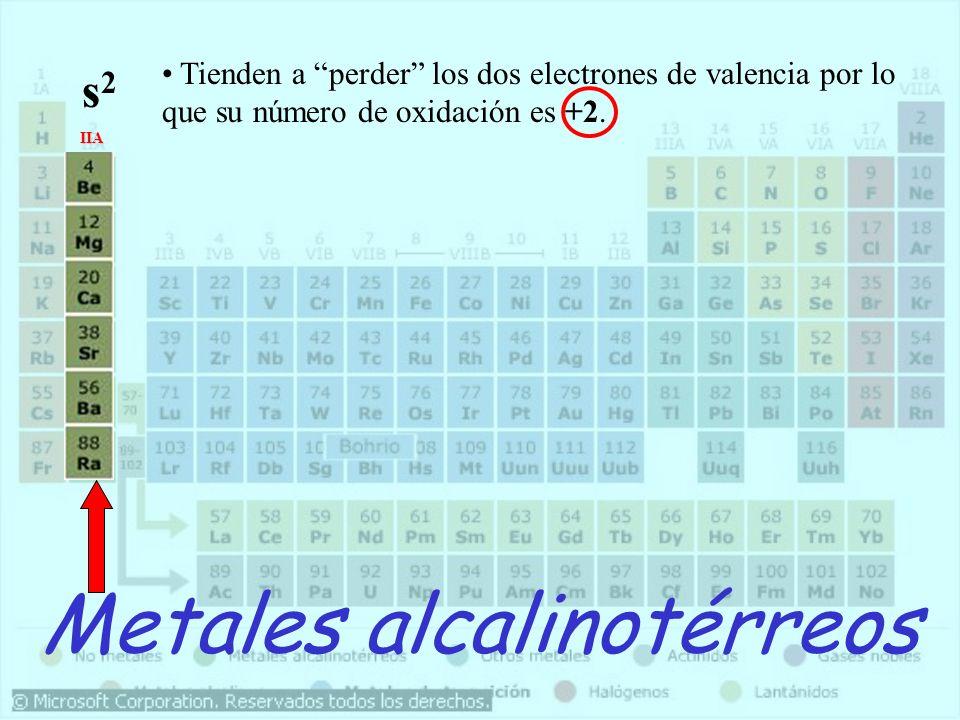 Metales alcalinotérreos IIA Tienden a perder los dos electrones de valencia por lo que su número de oxidación es +2. s2s2