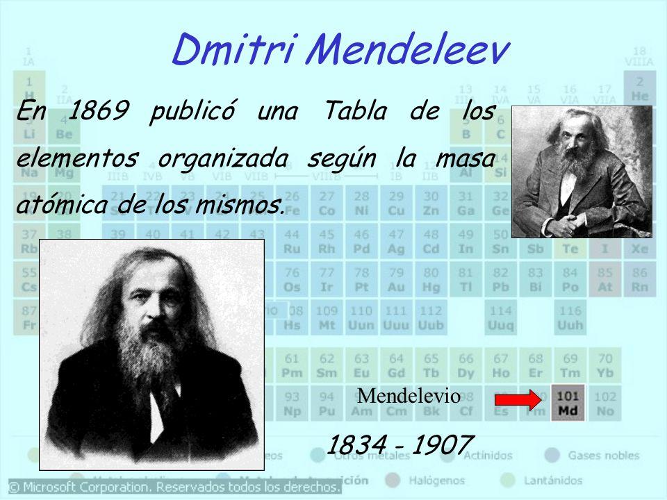Lothar Meyer 1830 - 1895 Al mismo tiempo que Mendeleeiev, Meyer publicó su propia Tabla Periódica con los elementos ordenados de menor a mayor masa atómica.