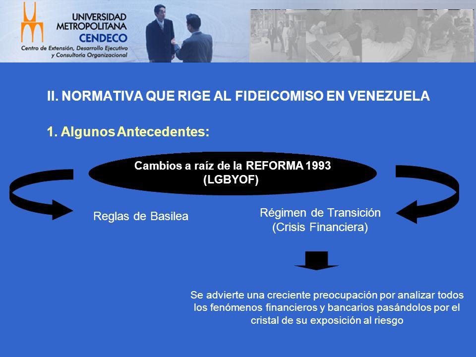 II. NORMATIVA QUE RIGE AL FIDEICOMISO EN VENEZUELA Reglas de Basilea Régimen de Transición (Crisis Financiera) Cambios a raíz de la REFORMA 1993 (LGBY