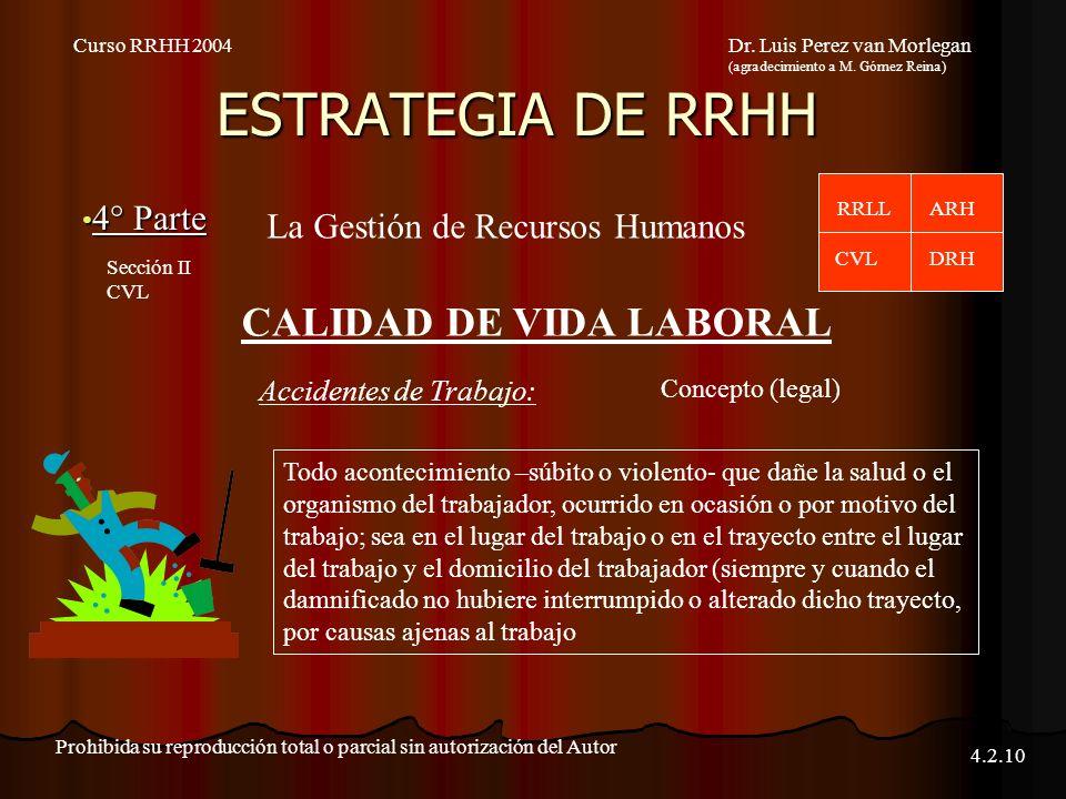 ESTRATEGIA DE RRHH 4° Parte 4° Parte Curso RRHH 2004Dr. Luis Perez van Morlegan (agradecimiento a M. Gómez Reina) Prohibida su reproducción total o pa