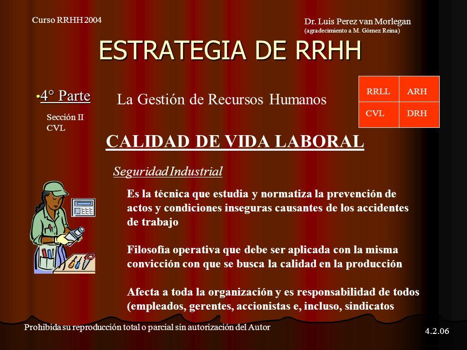 ESTRATEGIA DE RRHH 4° Parte 4° Parte Curso RRHH 2004 Dr.