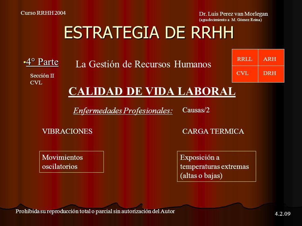ESTRATEGIA DE RRHH 4° Parte 4° Parte Curso RRHH 2004 Dr. Luis Perez van Morlegan (agradecimiento a M. Gómez Reina) Prohibida su reproducción total o p