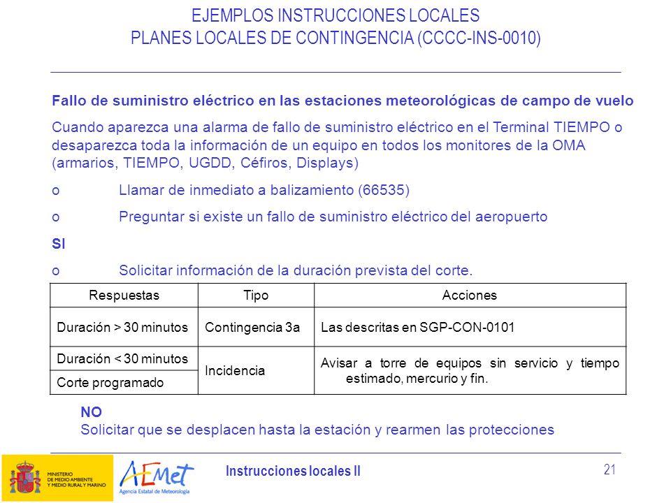 Instrucciones locales II 21 EJEMPLOS INSTRUCCIONES LOCALES PLANES LOCALES DE CONTINGENCIA (CCCC-INS-0010) Fallo de suministro eléctrico en las estacio
