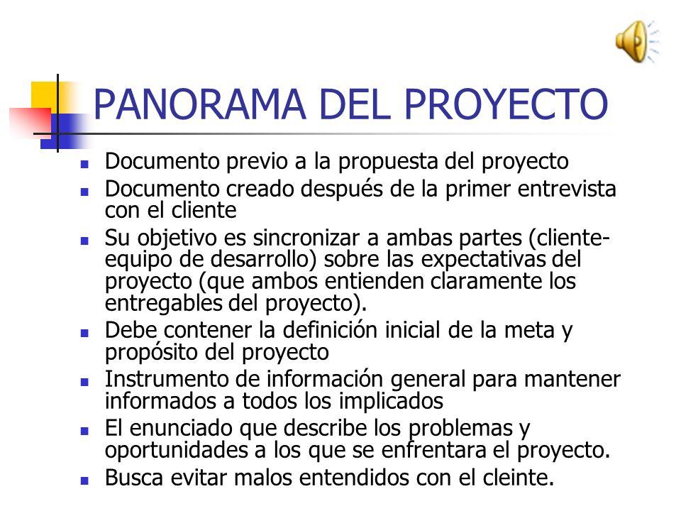 PASOS CRITICOS EN EL SEGUIMIENTO DEL PROYECTO PANORAMA DEL PROYECTO PROPUESTA DEL PROYECTO EJECUCION DEL PROYECTO LIBERACION DEL PROYECTO