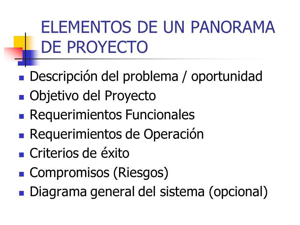 PANORAMA DEL PROYECTO Documento previo a la propuesta del proyecto Documento creado después de la primer entrevista con el cliente Su objetivo es sinc