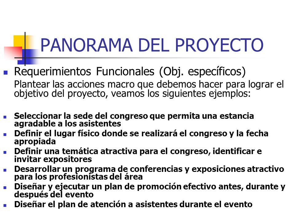 PANORAMA DEL PROYECTO Objetivo del Proyecto Es un enunciado que especifica lo que se desea hacer para solucionar el problema (oportunidad) en cuestión