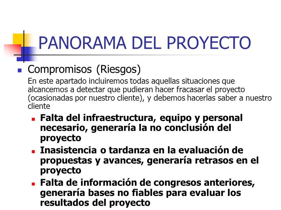 PANORAMA DEL PROYECTO Criterios de éxito En este apartado debemos incluir los aspectos a considerar para determinar si el proyecto fracasó o tuvo éxit