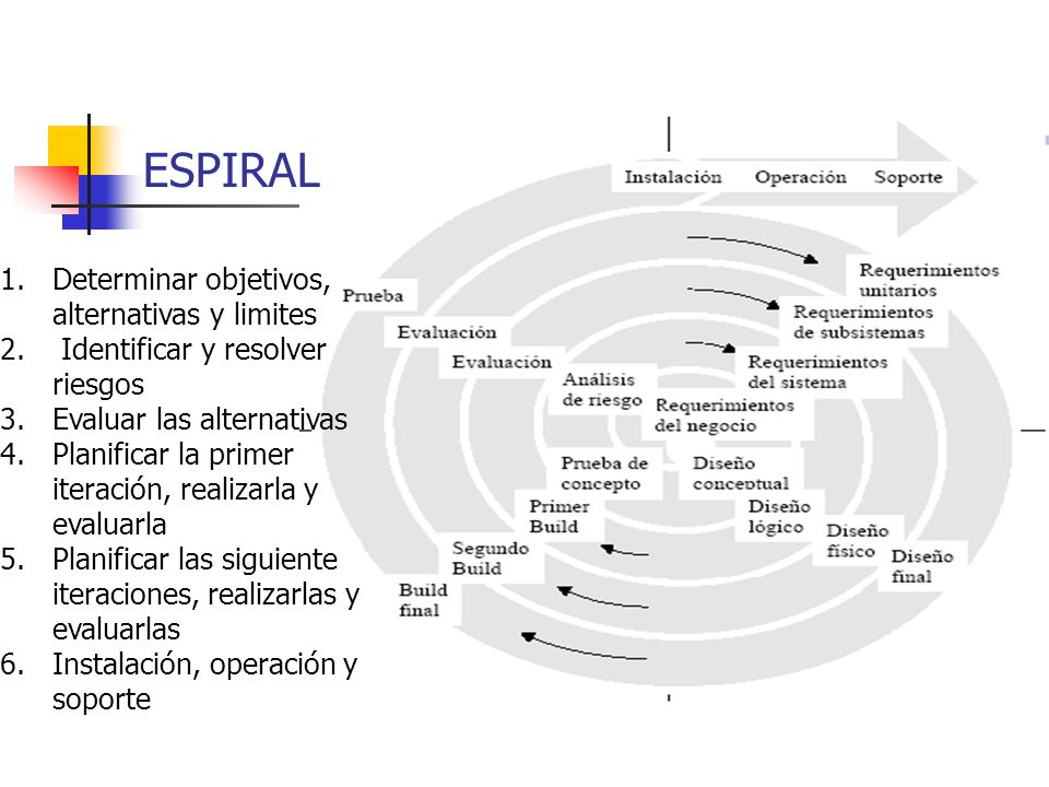 ESPIRAL 1.Determinar objetivos, alternativas y limites 2.