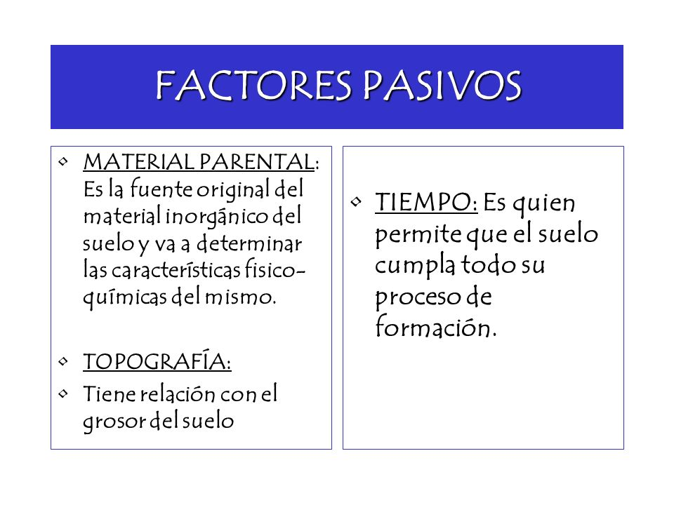 FACTORES PASIVOS MATERIAL PARENTAL: Es la fuente original del material inorgánico del suelo y va a determinar las características fisico- químicas del