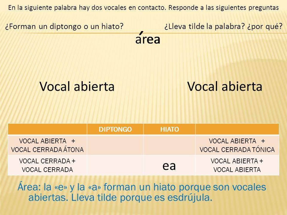 area ¿Forman un diptongo o un hiato? En la siguiente palabra hay dos vocales en contacto. Responde a las siguientes preguntas Área: la «e» y la «a» fo