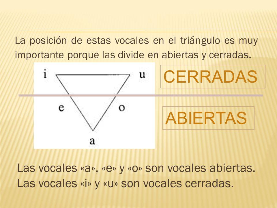 La posición de estas vocales en el triángulo es muy importante porque las divide en abiertas y cerradas. Las vocales «a», «e» y «o» son vocales abiert