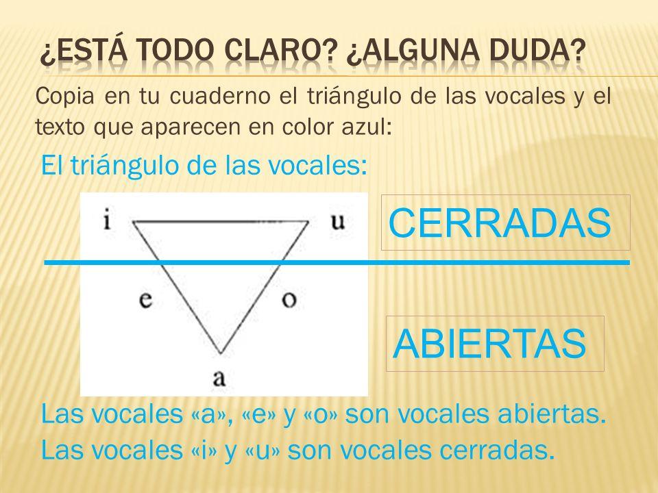 Copia en tu cuaderno el triángulo de las vocales y el texto que aparecen en color azul: Las vocales «a», «e» y «o» son vocales abiertas. ABIERTAS CERR