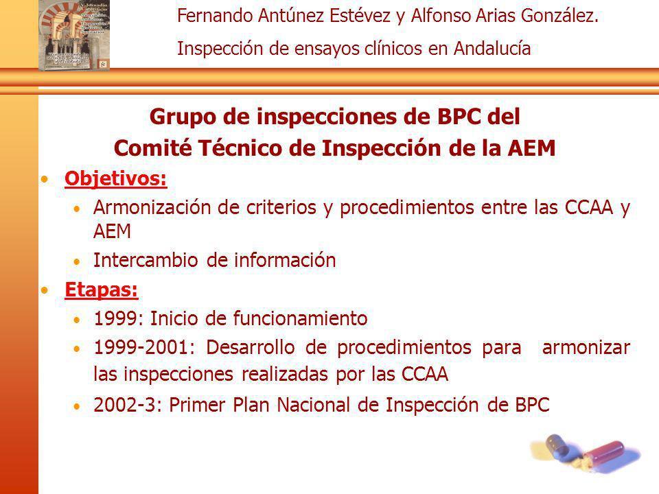 Fernando Antúnez Estévez y Alfonso Arias González. Inspección de ensayos clínicos en Andalucía Grupo de inspecciones de BPC del Comité Técnico de Insp