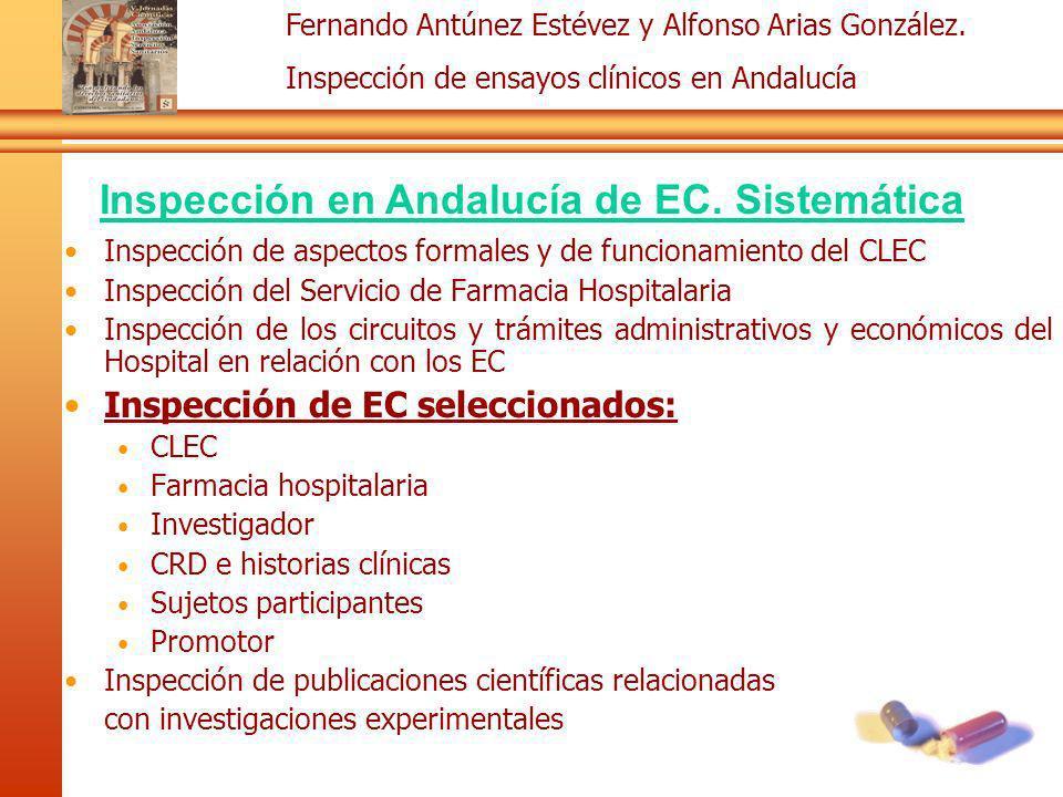 Fernando Antúnez Estévez y Alfonso Arias González. Inspección de ensayos clínicos en Andalucía Inspección de aspectos formales y de funcionamiento del