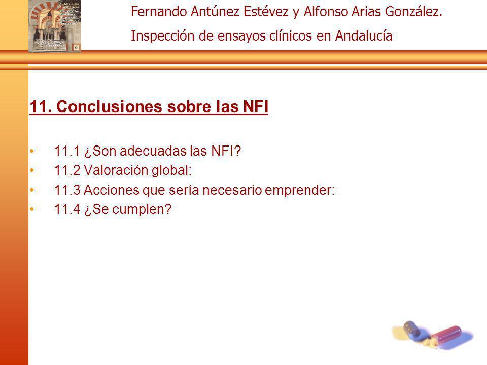 Fernando Antúnez Estévez y Alfonso Arias González. Inspección de ensayos clínicos en Andalucía 11. Conclusiones sobre las NFI 11.1 ¿Son adecuadas las