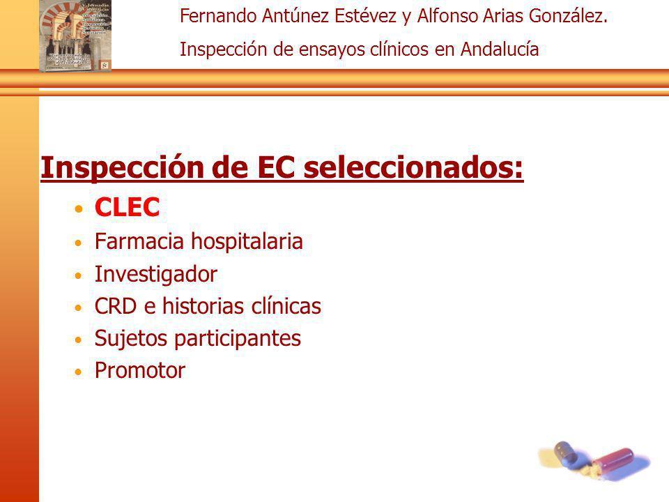 Fernando Antúnez Estévez y Alfonso Arias González. Inspección de ensayos clínicos en Andalucía Inspección de EC seleccionados: CLEC Farmacia hospitala