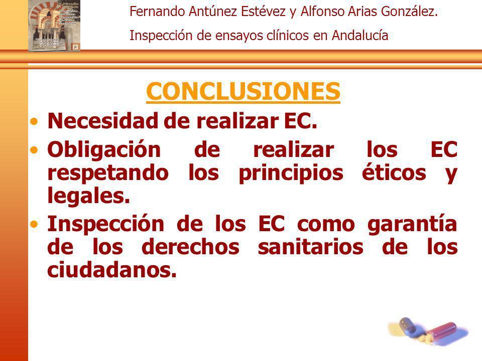 Fernando Antúnez Estévez y Alfonso Arias González. Inspección de ensayos clínicos en Andalucía CONCLUSIONES Necesidad de realizar EC. Obligación de re