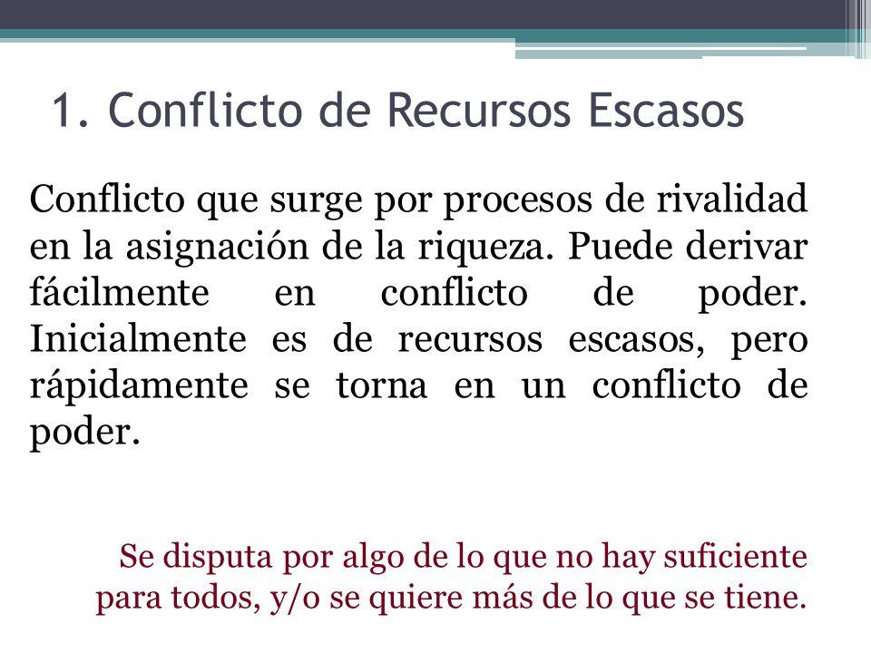1. Conflicto de Recursos Escasos Conflicto que surge por procesos de rivalidad en la asignación de la riqueza. Puede derivar fácilmente en conflicto d