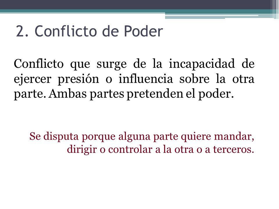 2. Conflicto de Poder Conflicto que surge de la incapacidad de ejercer presión o influencia sobre la otra parte. Ambas partes pretenden el poder. Se d