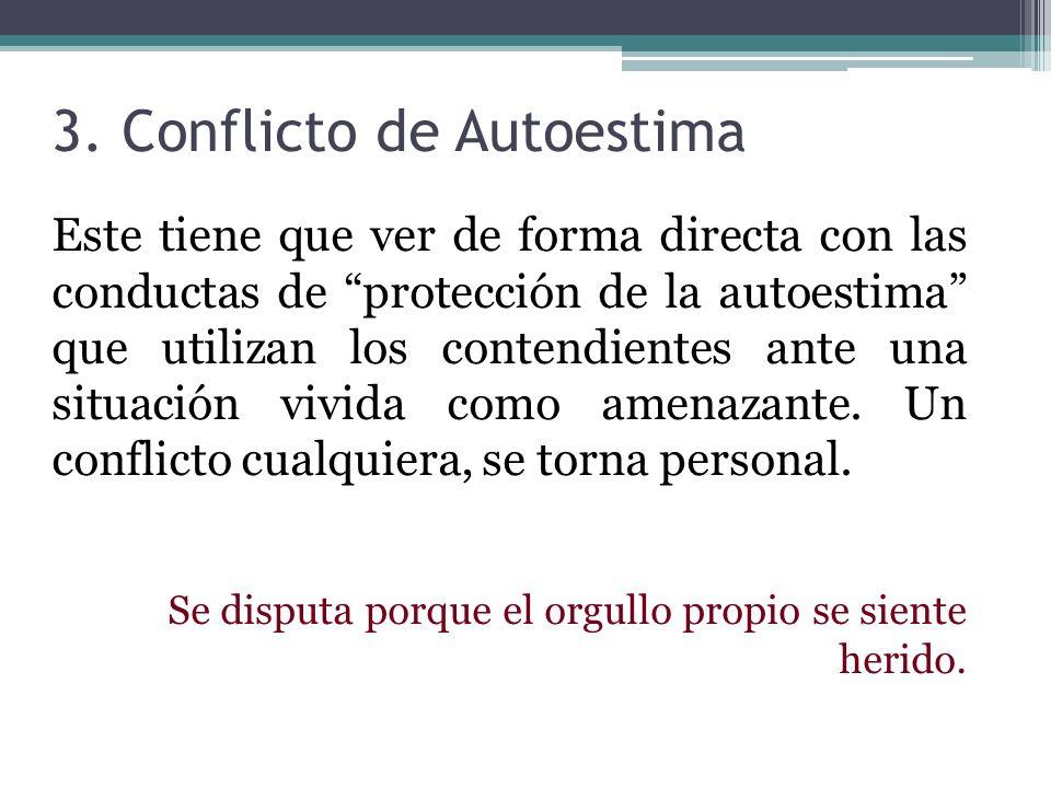 3. Conflicto de Autoestima Este tiene que ver de forma directa con las conductas de protección de la autoestima que utilizan los contendientes ante un