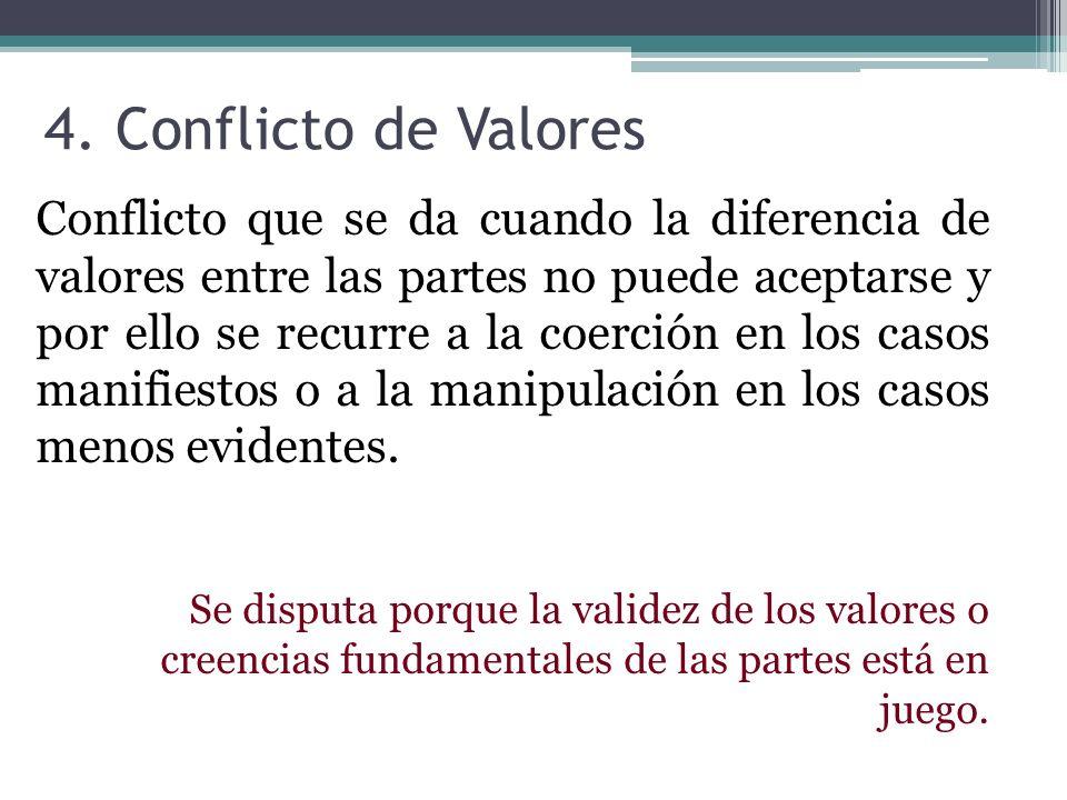 4. Conflicto de Valores Conflicto que se da cuando la diferencia de valores entre las partes no puede aceptarse y por ello se recurre a la coerción en