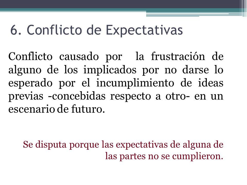 6. Conflicto de Expectativas Conflicto causado por la frustración de alguno de los implicados por no darse lo esperado por el incumplimiento de ideas