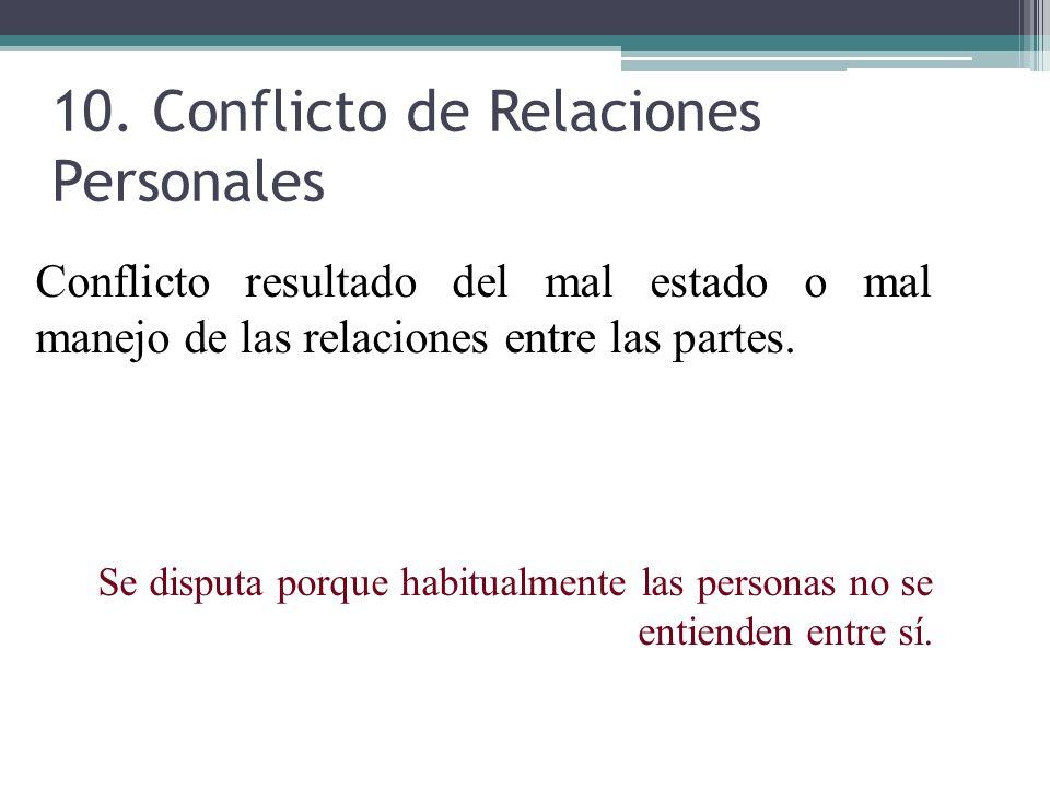 10. Conflicto de Relaciones Personales Conflicto resultado del mal estado o mal manejo de las relaciones entre las partes. Se disputa porque habitualm