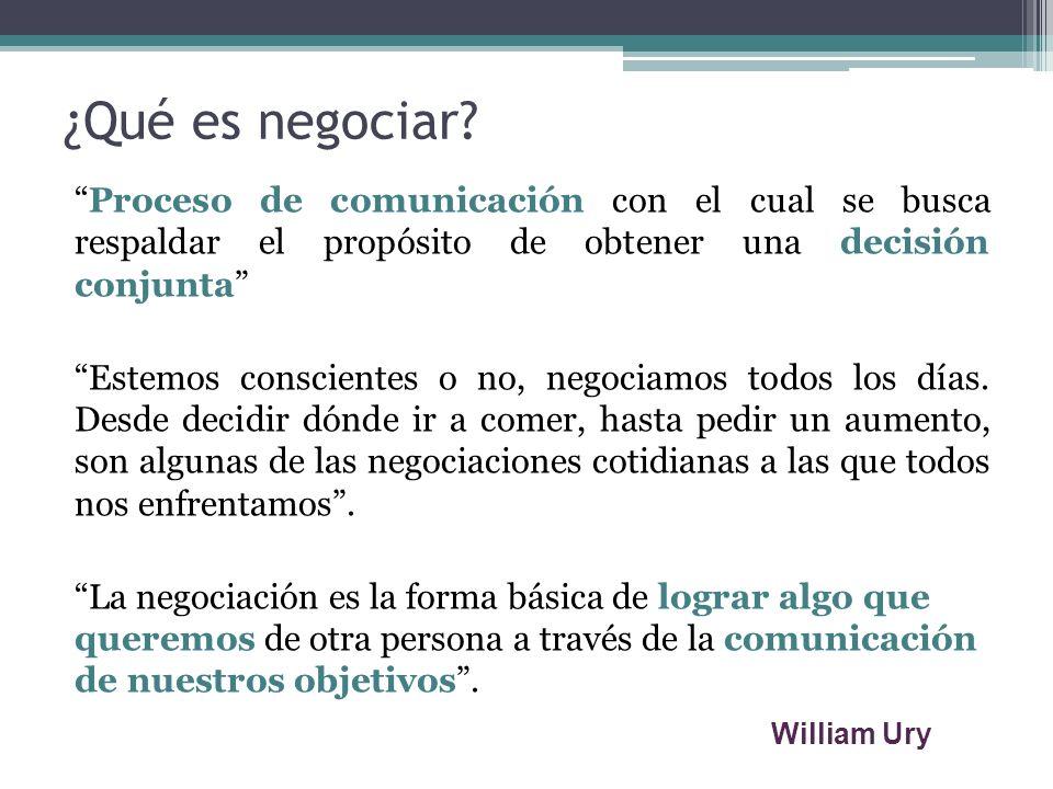 ¿Qué es negociar? Proceso de comunicación con el cual se busca respaldar el propósito de obtener una decisión conjunta Estemos conscientes o no, negoc