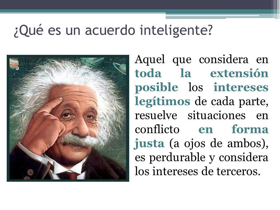 ¿Qué es un acuerdo inteligente? Aquel que considera en toda la extensión posible los intereses legítimos de cada parte, resuelve situaciones en confli