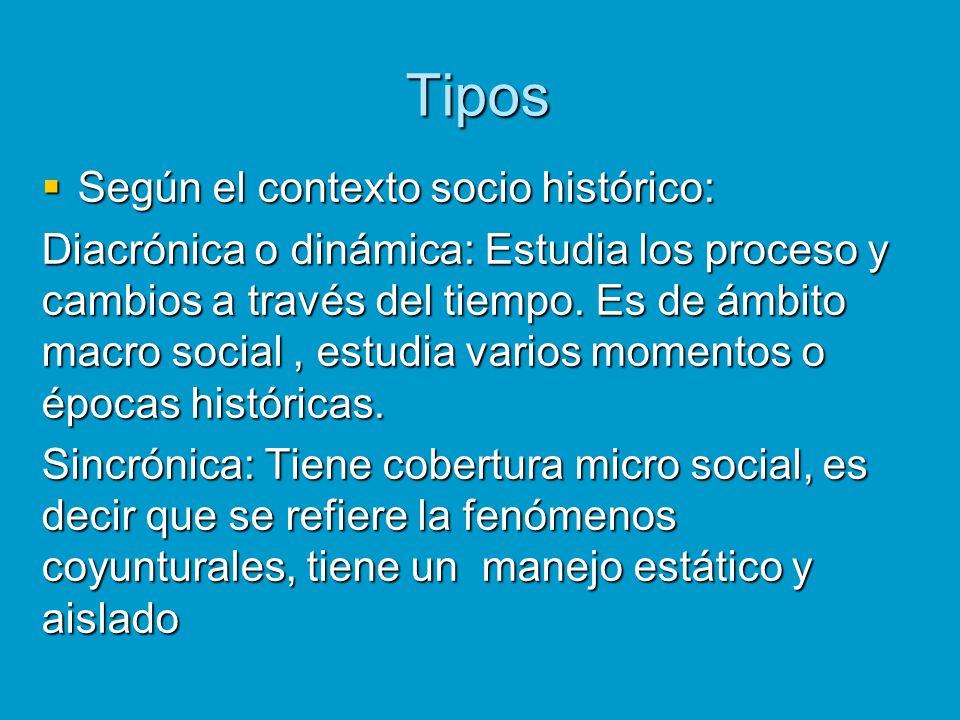 Tipos Según el contexto socio histórico: Según el contexto socio histórico: Diacrónica o dinámica: Estudia los proceso y cambios a través del tiempo.